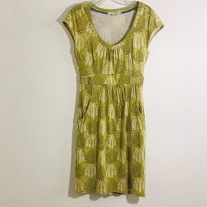 Boden pea green dress with fern design